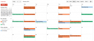 My Google calendar minus the personal stuff. I didn't think you wanted to see my appointments.