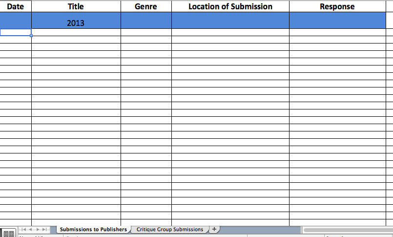 Submission Log Spreadsheet Sample