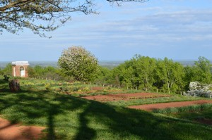 The view of the kitchen garden at Monticello