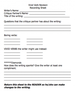 screen shot of vivid verbs sheet