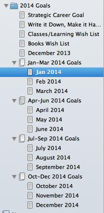 2014 Writing Goals Screenshot