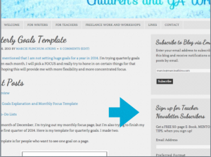 Teacher newsletter sign up screenshot