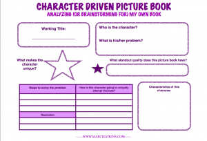 Printable Chart for Brainstorming for a New Picture Book Idea of Your Own OR Analyzing a Draft